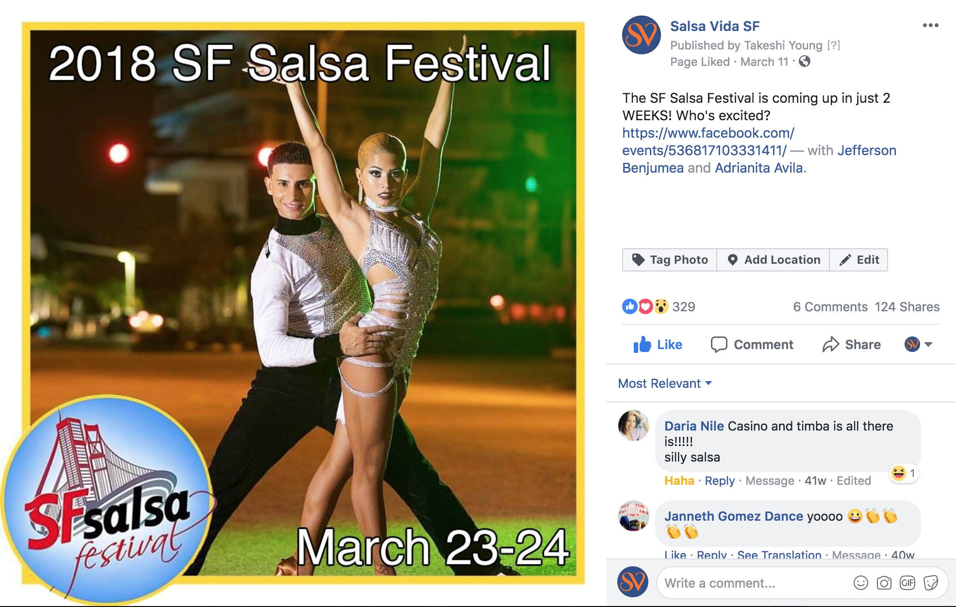 Salsa Vida SF Facebook Promotion